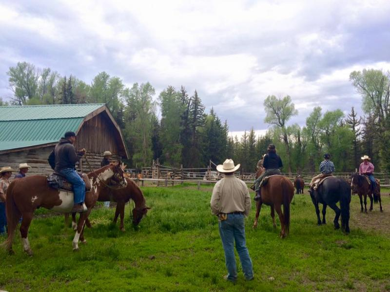 Horseback riding with spectacular Teton vista in Moose, Wyoming with Moose Head Ranch