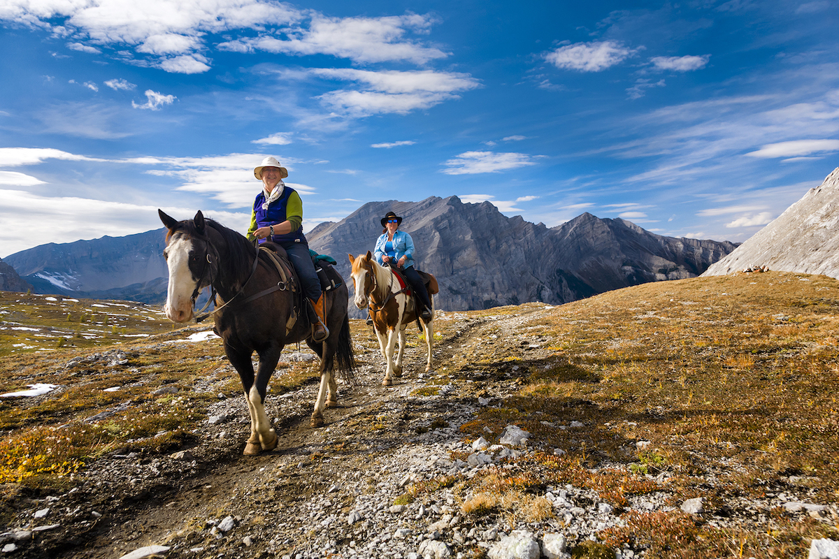 Horseback riders at Allenby Pass, at 8,100 feet on the Halfway Lodge backcountry trip