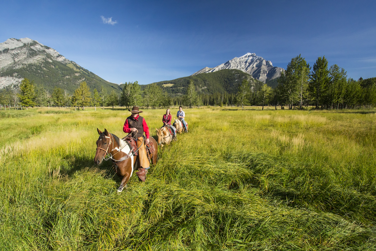 Horseback riders exploring Banff's backcountry