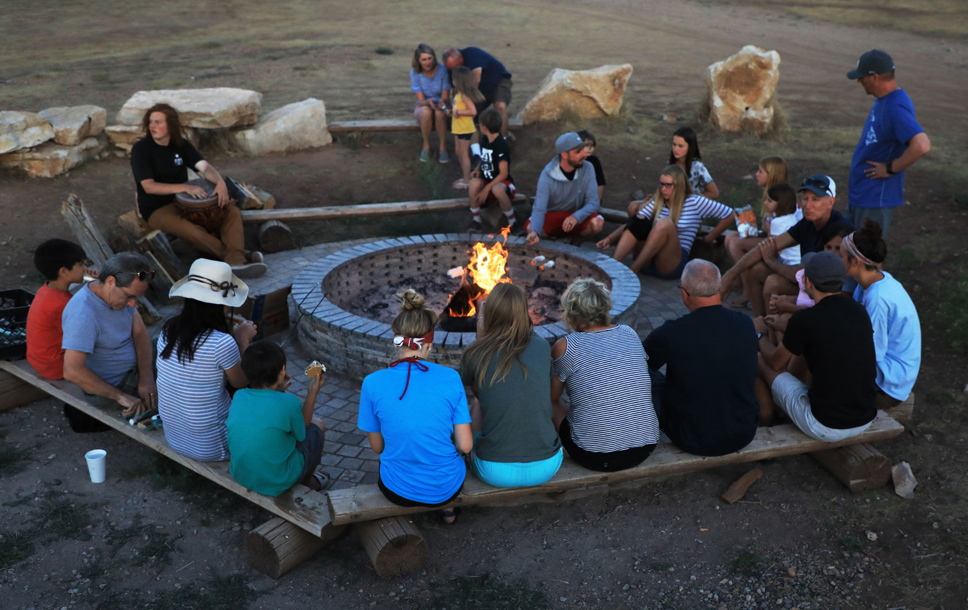 Gather around the fire at Zion Ponderosa Ranch.