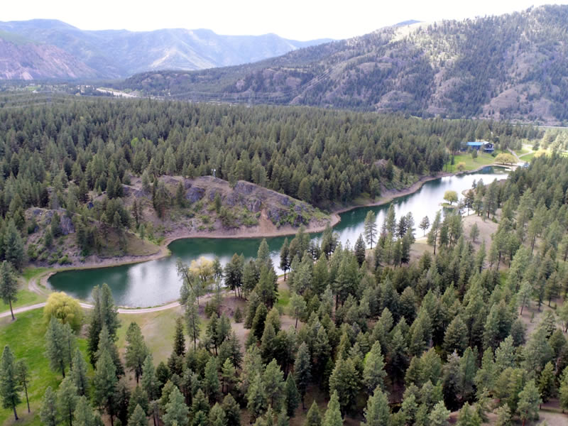Aerial view of RiverView Ranch located in Alberton, Montana on the beautiful Clark Fork River!
