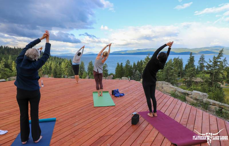 Great yoga exercise classes with a view at Flathead Lake Lodge in Bigfork, Montana!