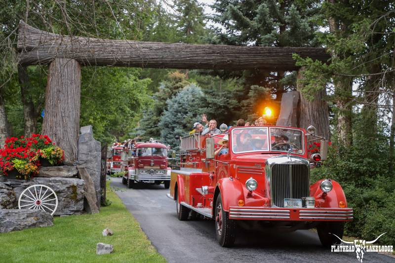 You'll love our antigue fire engines at Flathead Lake Lodge in Bigfork, Montana!
