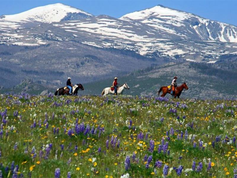 Horseback riding at Paradise Guest Ranch in Big Horn National Forest of Wyoming