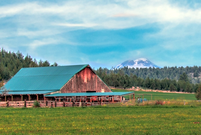 View of Cascades from Long Hollow Ranch in Oregon