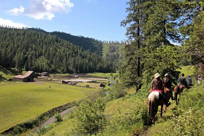 Ranch view from horseback ride at Red Horse Mountain in Idaho