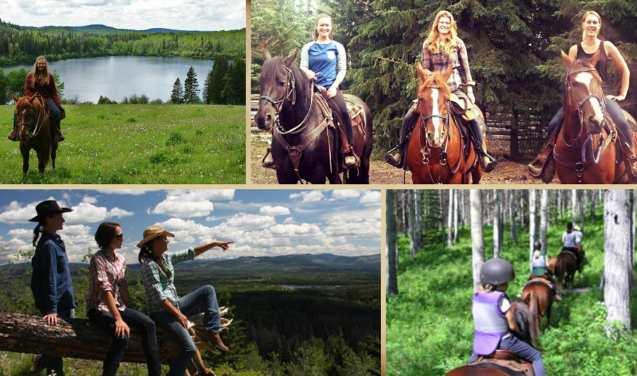 Horseback riding at Free Rein Guest Ranch in Bridge Lake, British Columbia, Canada