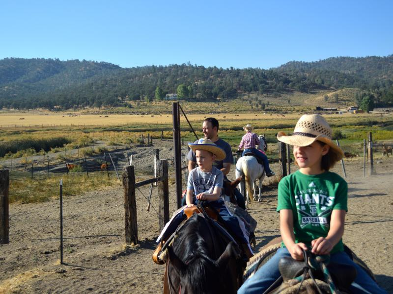 Rankin Ranch family horseback riding in the California Tehachapi Mountains