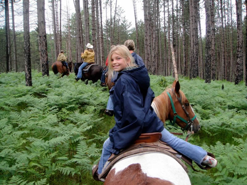 Horseback riding at Wolf Lake Ranch Resort in Michigan