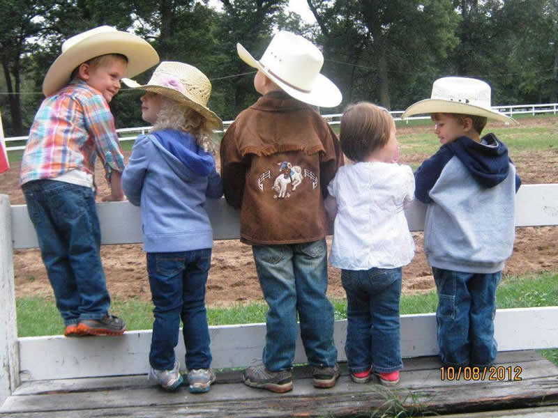 Little cowboys at Wolf Lake Ranch Resort in Michigan