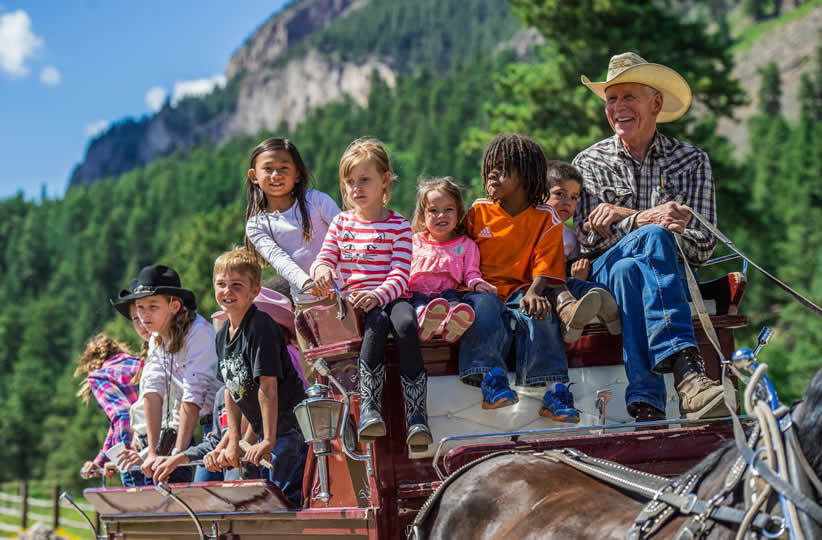 Children at Rainbow Trout Ranch in Antonito, Colorado