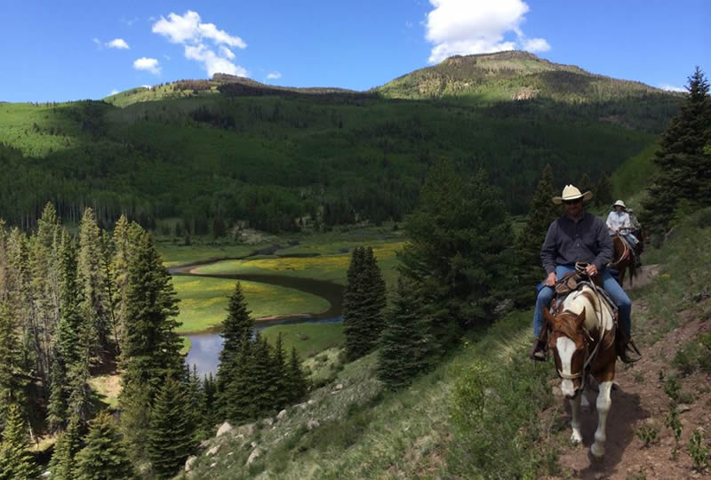 Horseback riding at Rainbow Trout Ranch in Antonito, Colorado
